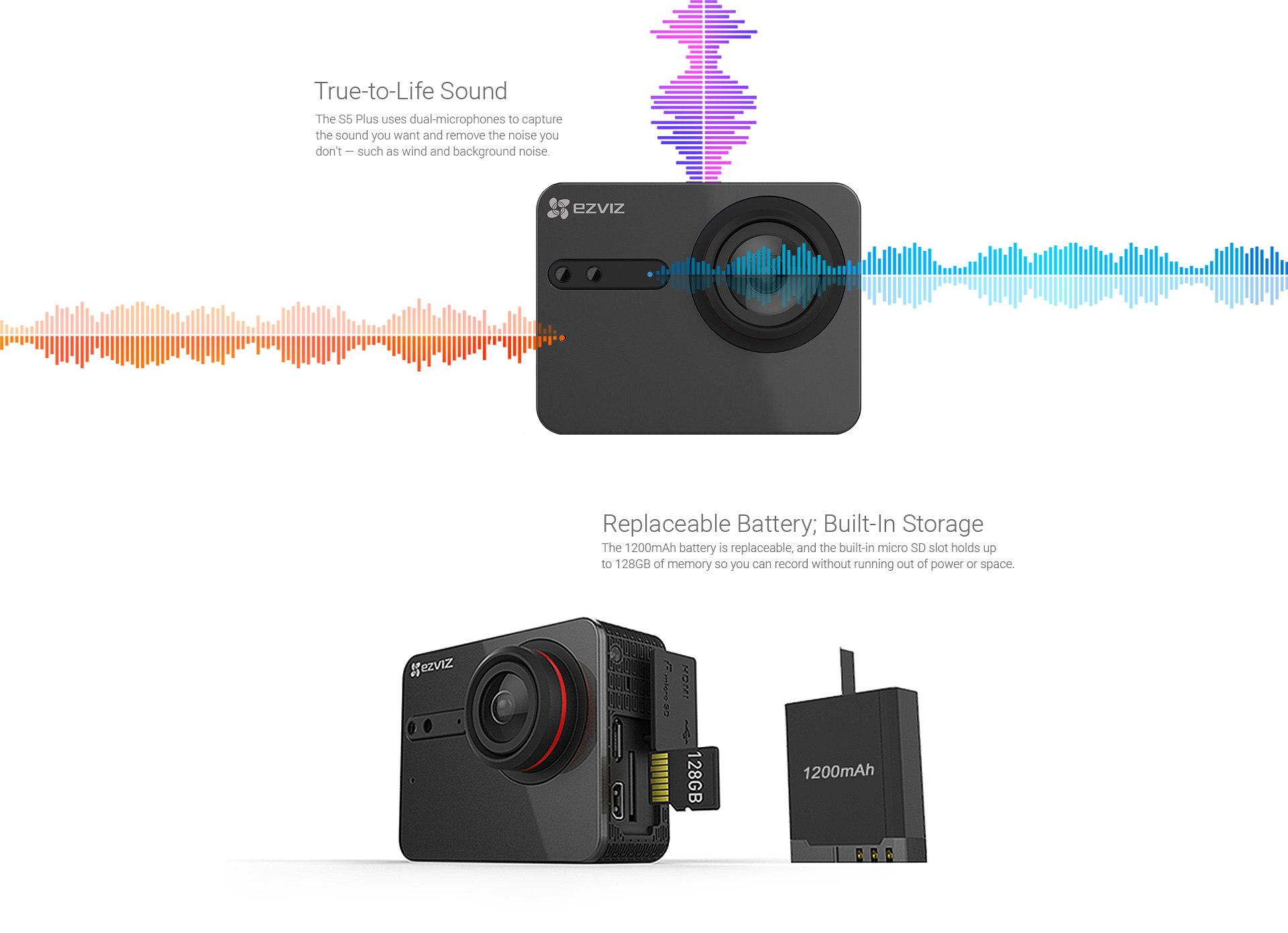 Ture-to-Life Sound & Replaceable Battery; Build-in Storage